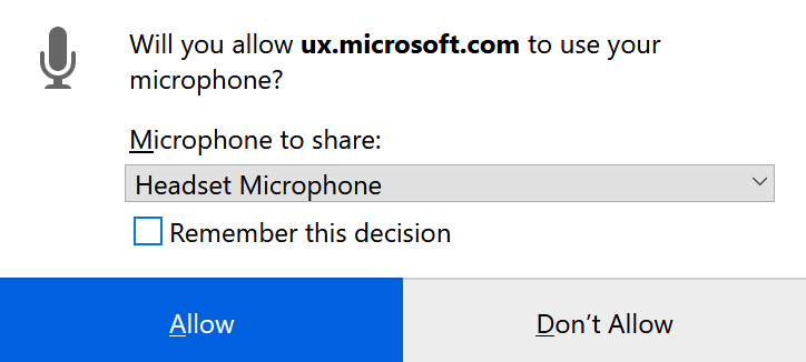 Microphone Access Popup Window on Firefox